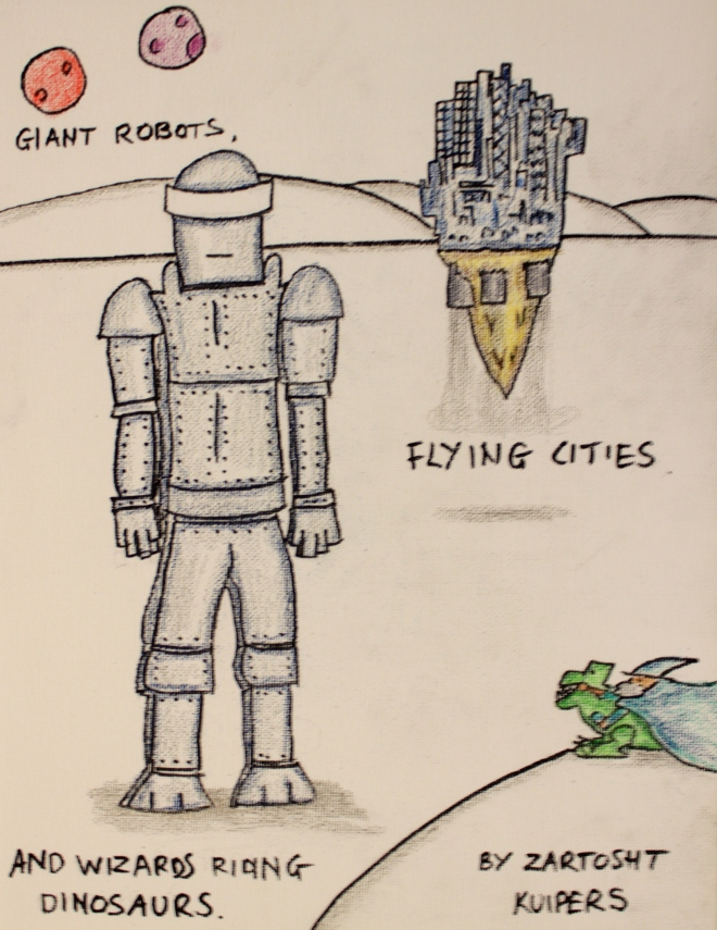 giant robots, flying cities and wizards riding dinosaurs