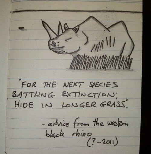 Advice from Extinct Animals 1 – Western Black Rhino