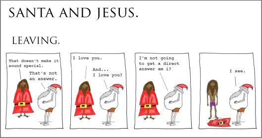 santa and jesus - leaving